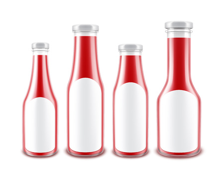 nutritive: Vector Set of Blank Glass Glossy Red Tomato Ketchup Bottles of different Shapes for Branding with White labels Isolated on White Background Illustration
