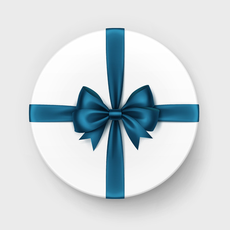 satin round: Vector White Round Gift Box with Shiny Dark Blue Turquoise Satin Bow and Ribbon Top View Close up Isolated on Background