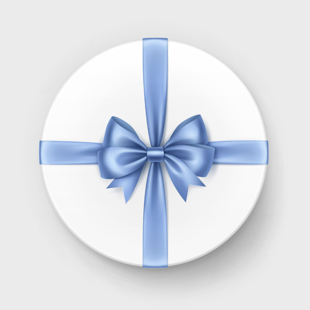 satin round: Vector White Round Gift Box with Shiny Light Blue Satin Bow and Ribbon Top View Close up Isolated on Background Stock Photo