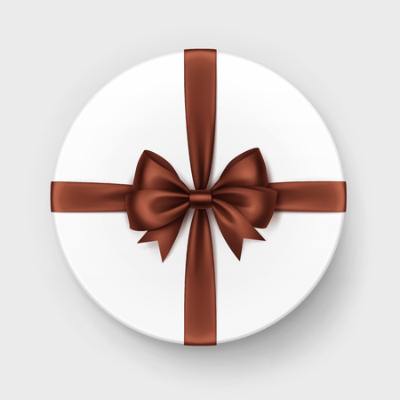 brown box: Vector White Round Gift Box with Shiny Brown Chocolate Satin Bow and Ribbon Top View Close up Isolated on Background