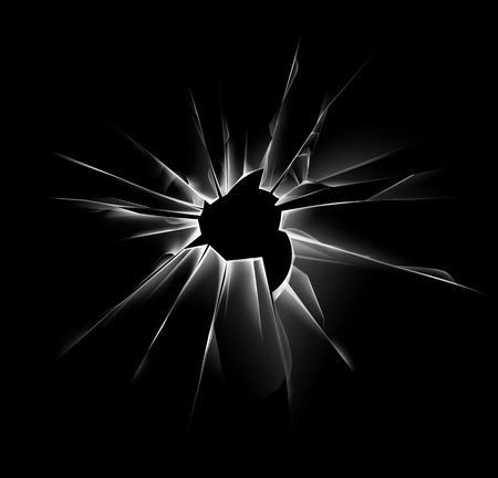 sabotage: Vector Transparent Shattered Crack Glass Window with Sharp Edges and Bullet holes Close up Isolated on Dark Black Background