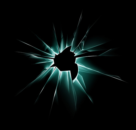 sabotage: Vector Green Shattered Crack Glass Window with Sharp Edges and Bullet holes Close up on Dark Black Background
