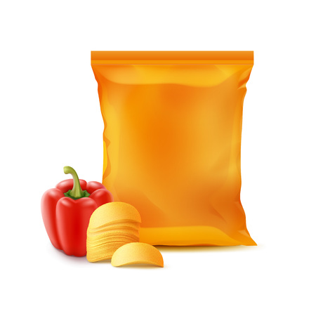 Vector Stack of Potato Crispy Chips with Paprika and Vertical Sealed Empty Orange Plastic Foil Bag for Package Design Close up Isolated on White Background Illustration