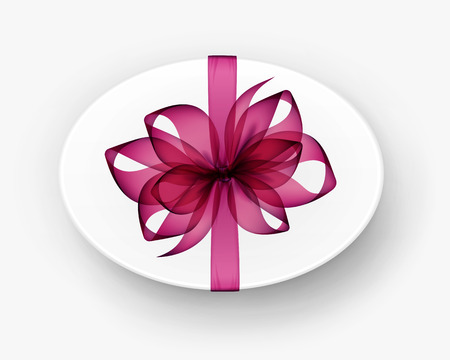 bow ribbon: Vector White Round Oval Gift Box with Transparent Magenta Dark Pink Bow and Ribbon Top View Close up Isolated on Background
