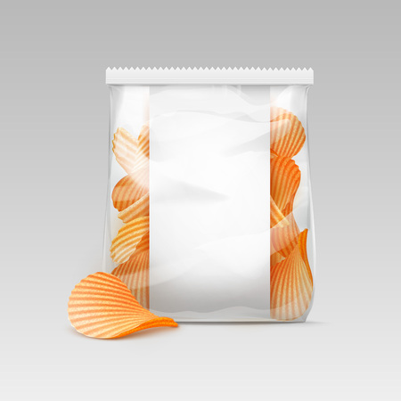 plastic wrap: Vector White Vertical Sealed Transparent Plastic Bag for Package Design with Potato Ripple Crispy Chips Close up Isolated on White Background