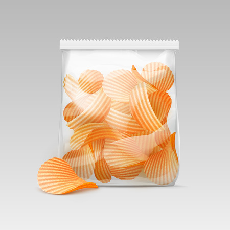crunchy: Vector White Vertical Sealed Transparent Plastic Bag for Package Design with Potato Ripple Crispy Chips Close up Isolated on White Background