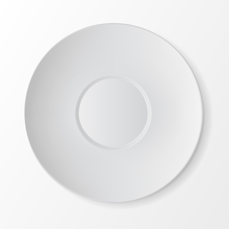 table setting: Vector White Empty Round Sauser Top View Isolated on White Background. Table Setting