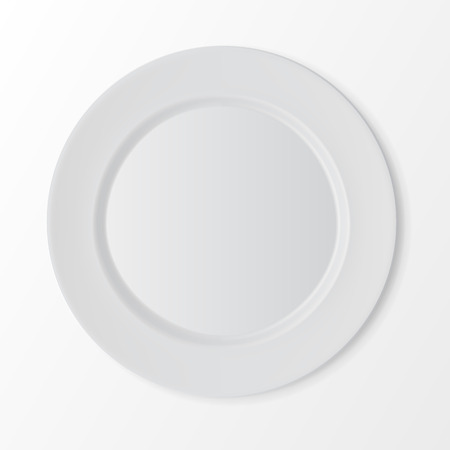 setting: Vector White Empty Flat Round Plate Top View Isolated on White Background. Table Setting