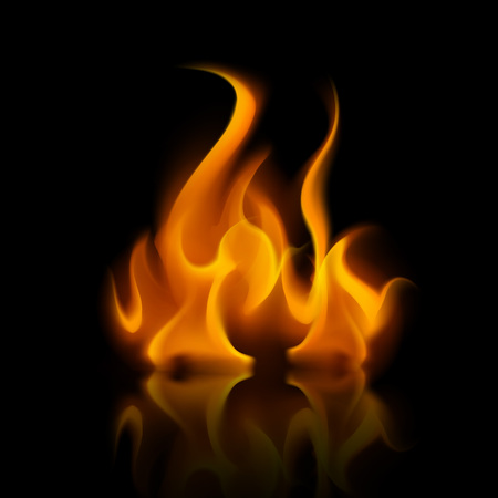Vector Yellow Orange Fire Flame Bonfire  Isolated on Background Ilustração