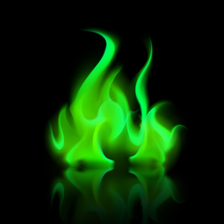sizzling: Vector Green Magic Fire Flame Bonfire  Isolated on Background