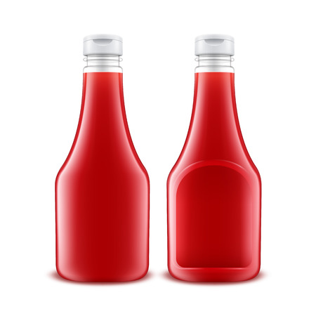 ketchup bottle: Vector Set of Blank Glass Plastic Red Tomato Ketchup Bottle for Branding without label Isolated on White Background Illustration