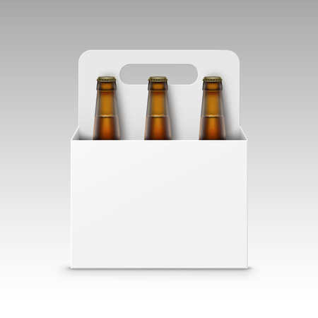 tempting: Vector Closed Blank Glass Transparent Brown Bottles of Light Beer with White Carton Packaging for Branding Close up Isolated on White Background