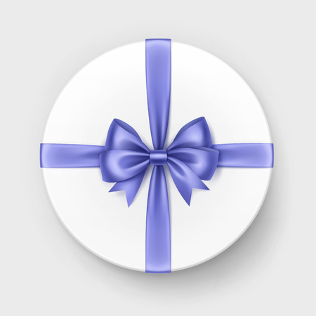 satin round: Vector White Round Gift Box with Shiny Light Blue Violet Satin Bow and Ribbon Top View Close up Isolated on Background Illustration