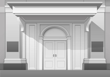 visor: Vector Classic Shop Museum Boutique Building Store Front with Closed Front Door, Columns, Roof  Visor and Place for Name Isolated on White Background