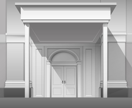 vitrine: Vector Classic Shop Museum Boutique Building Store Front with Closed Front Door, Columns, Roof  Visor and Place for Name Isolated on White Background