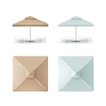patio: Vector Set of Light Blue Beige Blank Patio Outdoor Market Beach Cafe Bar Pub Restaurant Square Umbrella Parasol  for Branding Top Side Front View Mock up Close up Isolated on White Background