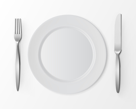 table setting: Vector White Empty Flat Round Plate with Fork and Knife Top View Isolated on White Background. Table Setting