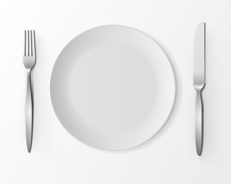 table setting: Vector White Empty Round Plate with Fork and Knife Top View Isolated on White Background. Table Setting