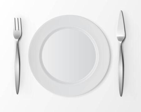 table setting: Vector White Empty Flat Round Plate with Fish Fork and Fish Knife Top View Isolated on White Background. Table Setting Illustration