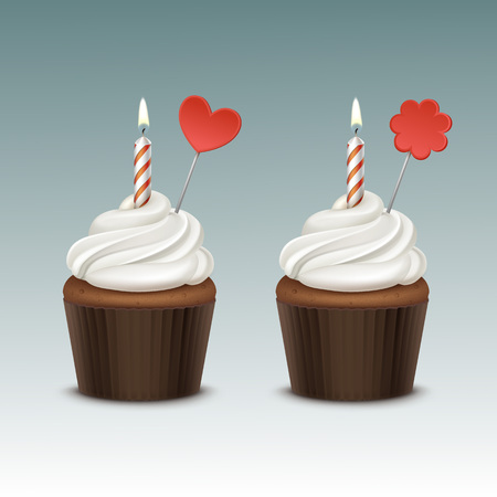 Vector Birthday Cupcake with White Whipped Cream and One Candle and Decoration Close up Isolated on Background