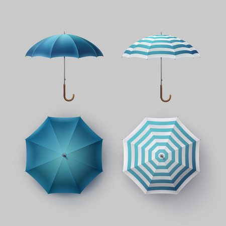 sunshade: Vector Set of White Blue Striped Blank Classic Opened Round Rain Umbrella Parasol Sunshade Top Front Side View Mock up Close up Isolated on Background Illustration