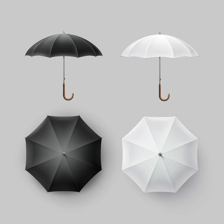 sunshade: Vector Set of White Black Blank Classic Opened Round Rain Umbrella Parasol Sunshade Top Front Side View Mock up Close up Isolated on Background Illustration