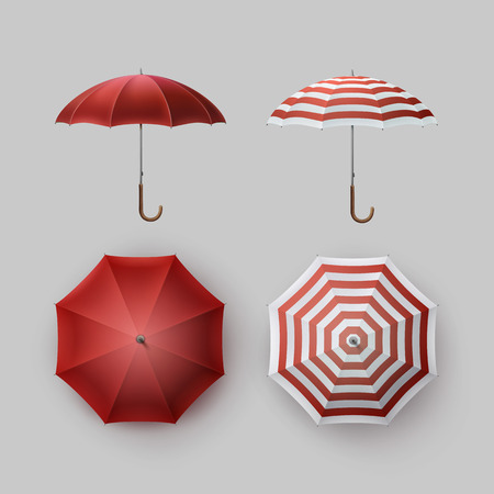 sunshade: Vector Set of White Red Striped Blank Classic Opened Round Rain Umbrella Parasol Sunshade Top Front Side View Mock up Close up Isolated on Background