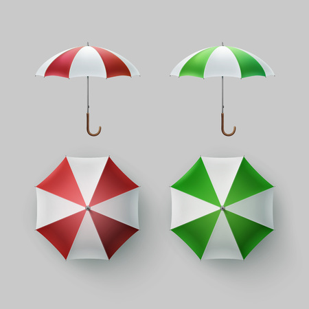 sunshade: Vector Set of White Green Red White Striped Blank Classic Opened Round Rain Umbrella Parasol Sunshade Top Front Side View Mock up Close up Isolated on Background Illustration