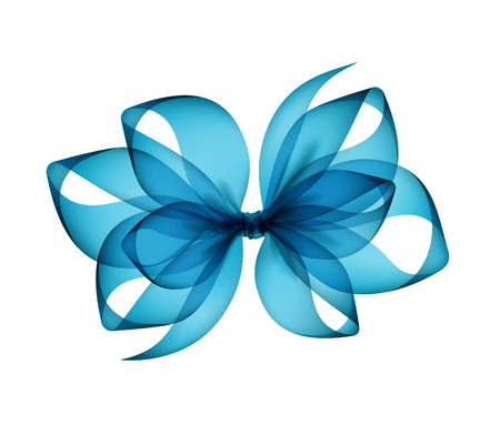Vector Light Blue Azure Transparent Bow Top View Close up Isolated on White Background