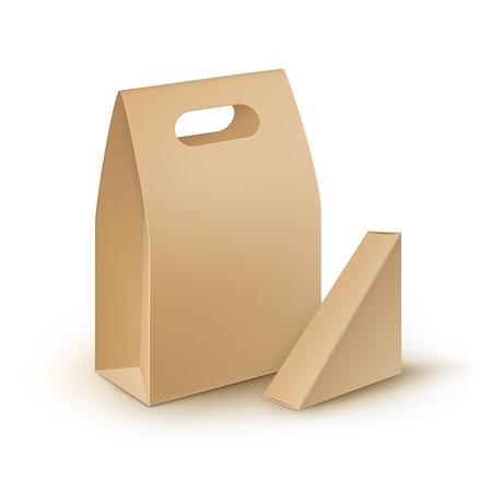 Vector Conjunto de cartón marrón en blanco triángulo rectángulo para llevar el almuerzo Cajas Para los embalajes Para bocadillo, comida, regalo, Otros productos Mock hasta cerca aisladas sobre fondo blanco