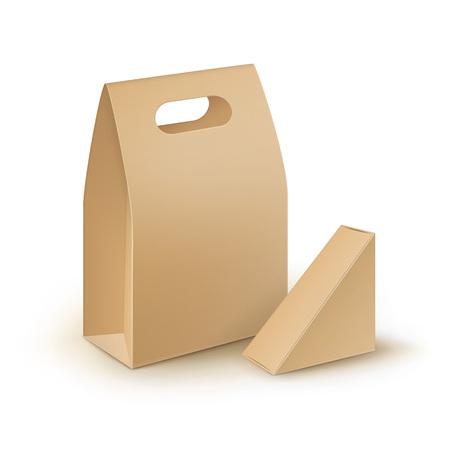 Vector Set van bruine lege kartonnen rechthoek Driehoek wegnemen Handvat Lunch dozen Verpakking voor Sandwich, eten, geschenk, andere producten Mock up Close-up geïsoleerd op witte achtergrond