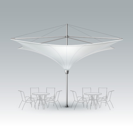 patio: Vector White Blank Inversed Lotus Patio Outdoor Beach Cafe Bar Pub Lounge Restaurant Umbrella Parasol for Branding Front Side View Mock up Close up Isolated on Background