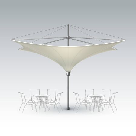 lounge bar: Vector White Beige Blank Inversed Lotus Patio Outdoor Beach Cafe Bar Pub Lounge Restaurant Umbrella Parasol for Branding Front Side View Mock up Close up Isolated on Background