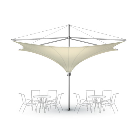 patio: Vector White Beige Blank Inversed Lotus Patio Outdoor Beach Cafe Bar Pub Lounge Restaurant Umbrella Parasol for Branding Front Side View Mock up Close up Isolated on White Background