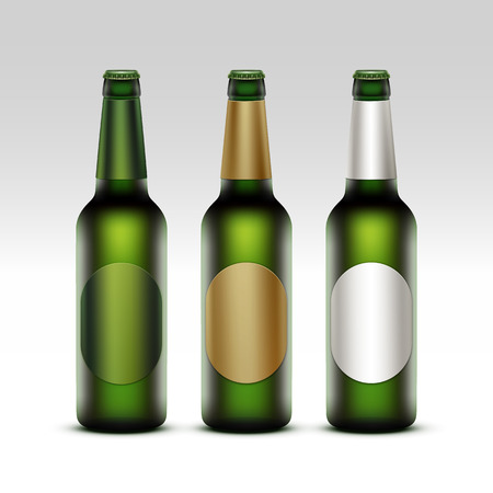 tempting: Vector Set of  Closed Blank Glass Transparent Green Bottles of Light Beer with Round White Green Golden labels for Branding Close up Isolated on White Background
