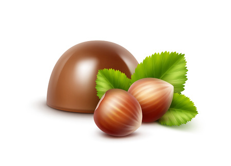Vector Realistic Milk Chocolate Candy with Hazelnuts Close up Isolated on White Background Illustration