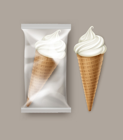 pack ice: Vector White Classic Soft Serve Ice Cream Waffle Cone with Transparent Plastic Foil Wrapper for Branding Package Design Close up Isolated on White Background