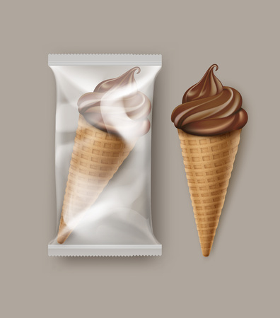 Vector Chocolate Soft Serve Ice Cream Waffle Cone with Transparent Plastic Foil Wrapper for Branding Package Design Close up Isolated on Background