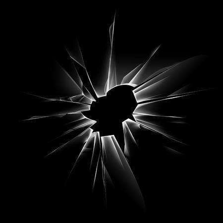Vector Transparent Window Crack Shattered Glass avec des arêtes vives et des trous de balles Close up isolé sur fond noir foncé