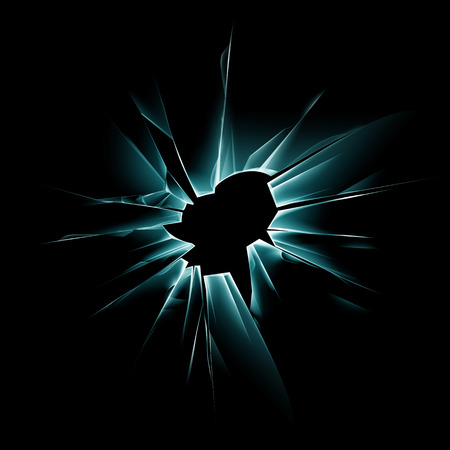 crack up: Vector Green Shattered Crack Glass Window with Sharp Edges and Bullet holes Close up on Dark Black Background