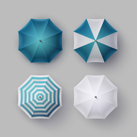 sunshade: Vector Set of White Blue Striped Blank Classic Opened Round Rain Umbrella Parasol Sunshade Top View Mock up Close up Isolated on Background