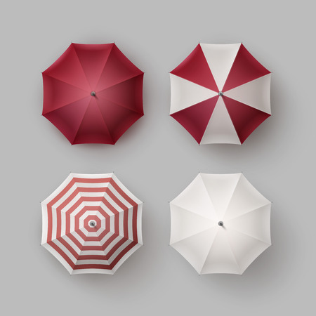 sunshade: Vector Set of White Red Vinous Striped Blank Classic Opened Round Rain Umbrella Parasol Sunshade Top View Mock up Close up Isolated on Background