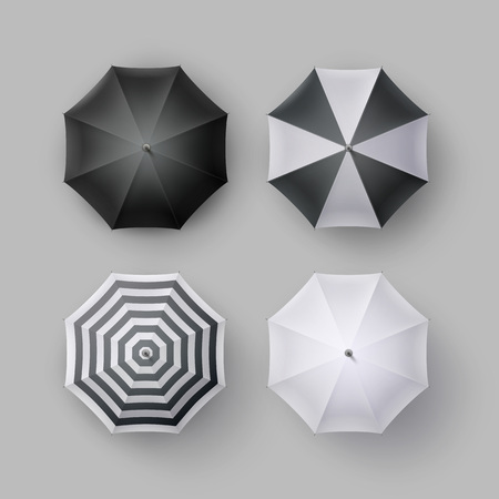 patio set: Vector Set of White Black Striped Blank Classic Opened Round Rain Umbrella Parasol Sunshade Top View Mock up Close up Isolated on Background Illustration