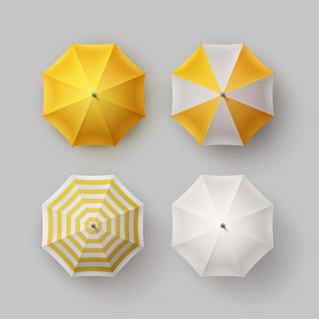 patio set: Vector Set of White Yellow Striped Blank Classic Opened Round Rain Umbrella Parasol Sunshade Top View Mock up Close up Isolated on Background Illustration
