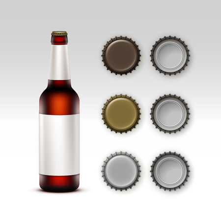 Vector  Closed Blank Glass Transparent Brown Bottle of  Dark Red Beer with  White label and Set of Caps of Different Color Side Top Back View for Branding Close up Isolated on White Background Illustration