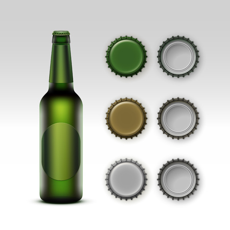 Vector  Closed Blank Glass Transparent Green Bottle of Light Beer with  Green label and Set of Caps of Different Color Side Top Back View for Branding Close up Isolated on White Background