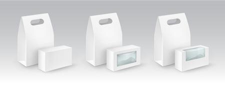 Vector Conjunto de blanco del blanco de la cartulina del rectángulo Para llevar almuerzo Cajas Para los embalajes Para bocadillo, comida, regalo, Otros Productos con ventanas de plástico maqueta cerca aisladas sobre fondo blanco