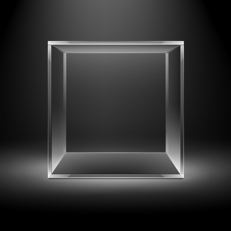 backlit: Vector Empty Transparent Glass Box Cube Isolated on Dark Black Background with Backlight Illustration