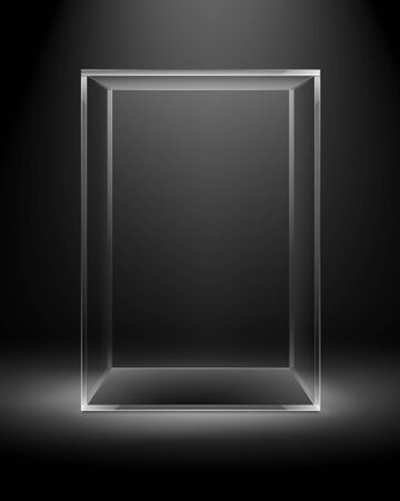 backlit: Vector Empty Transparent Glass Box Rectangle Cube Isolated on Dark Black Background with Backlight Illustration