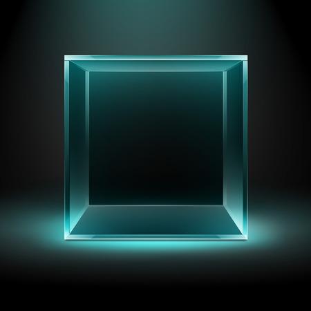 Boîte en verre transparente vide vectoriel sur fond noir foncé avec rétro-éclairage bleu turquoise